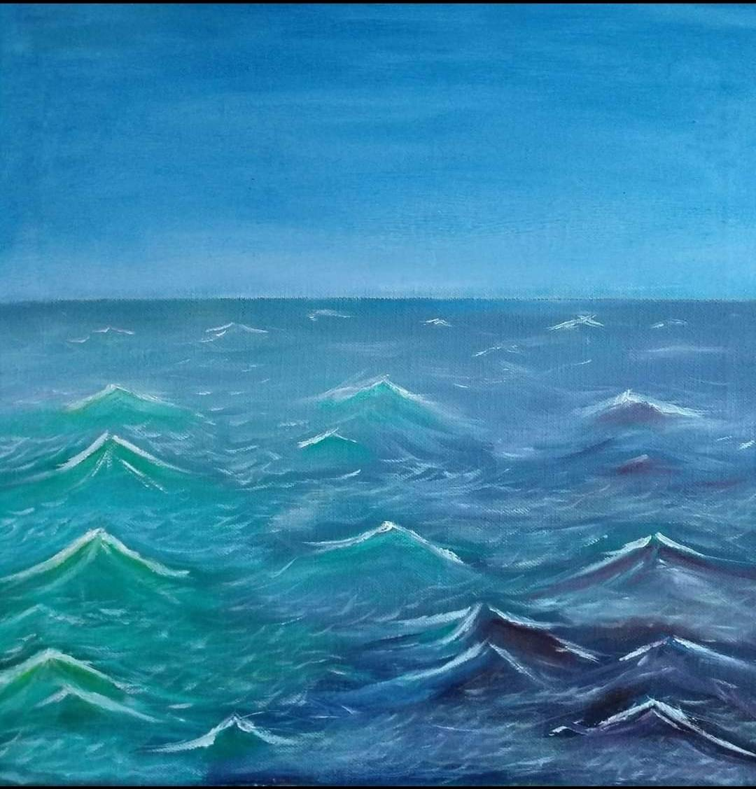 Oil Painting of a rough sea scape for sale by Irish artist