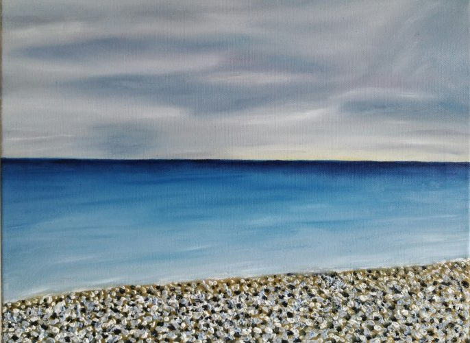 Oil Painting of Bray beach on a winter day by local artist