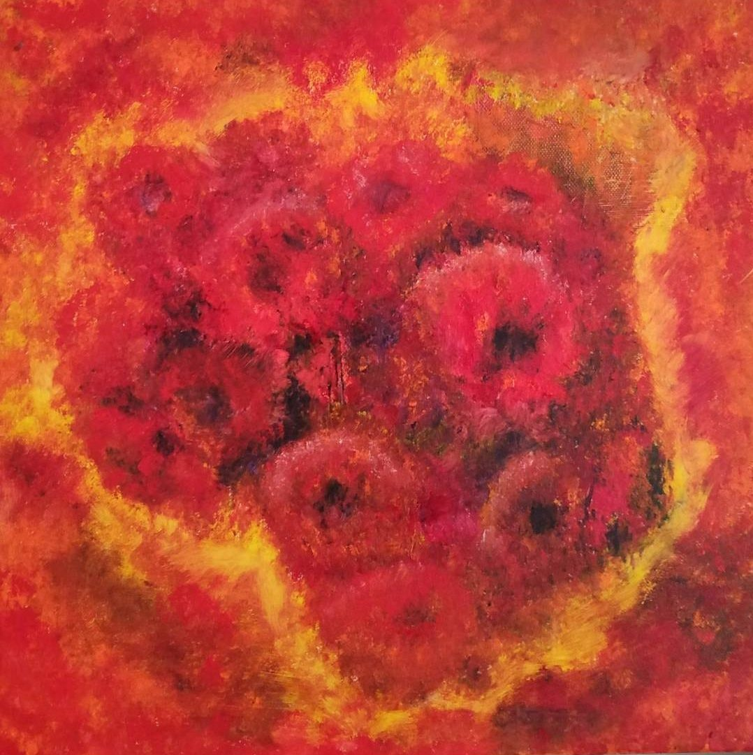 Abstract Oil Painting called Burst of Red is for sale for only €200 + PP