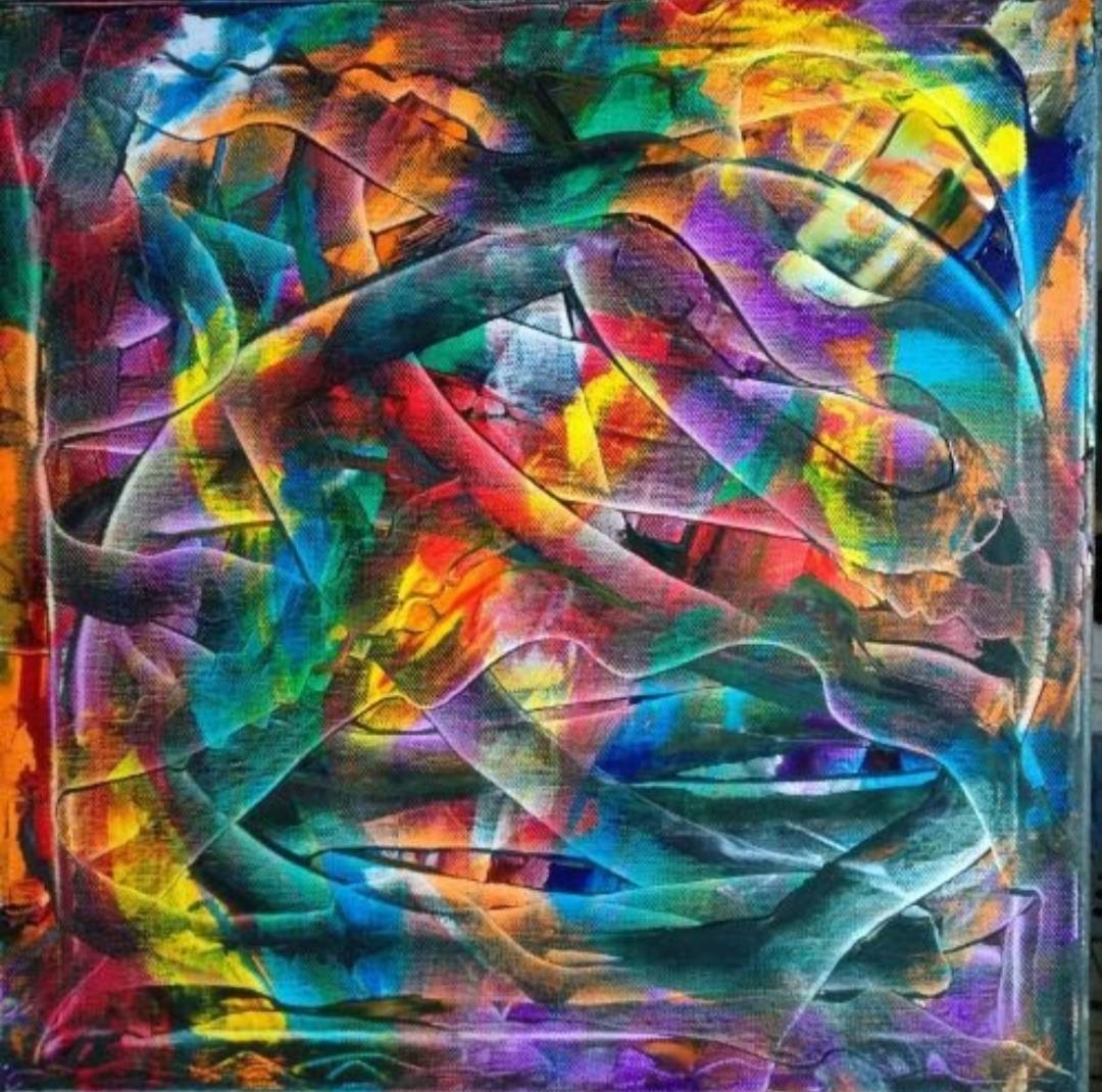 This abstract painting is Fusion of Colour, it is 40 X 40 CM and is on sale for €200 + PP