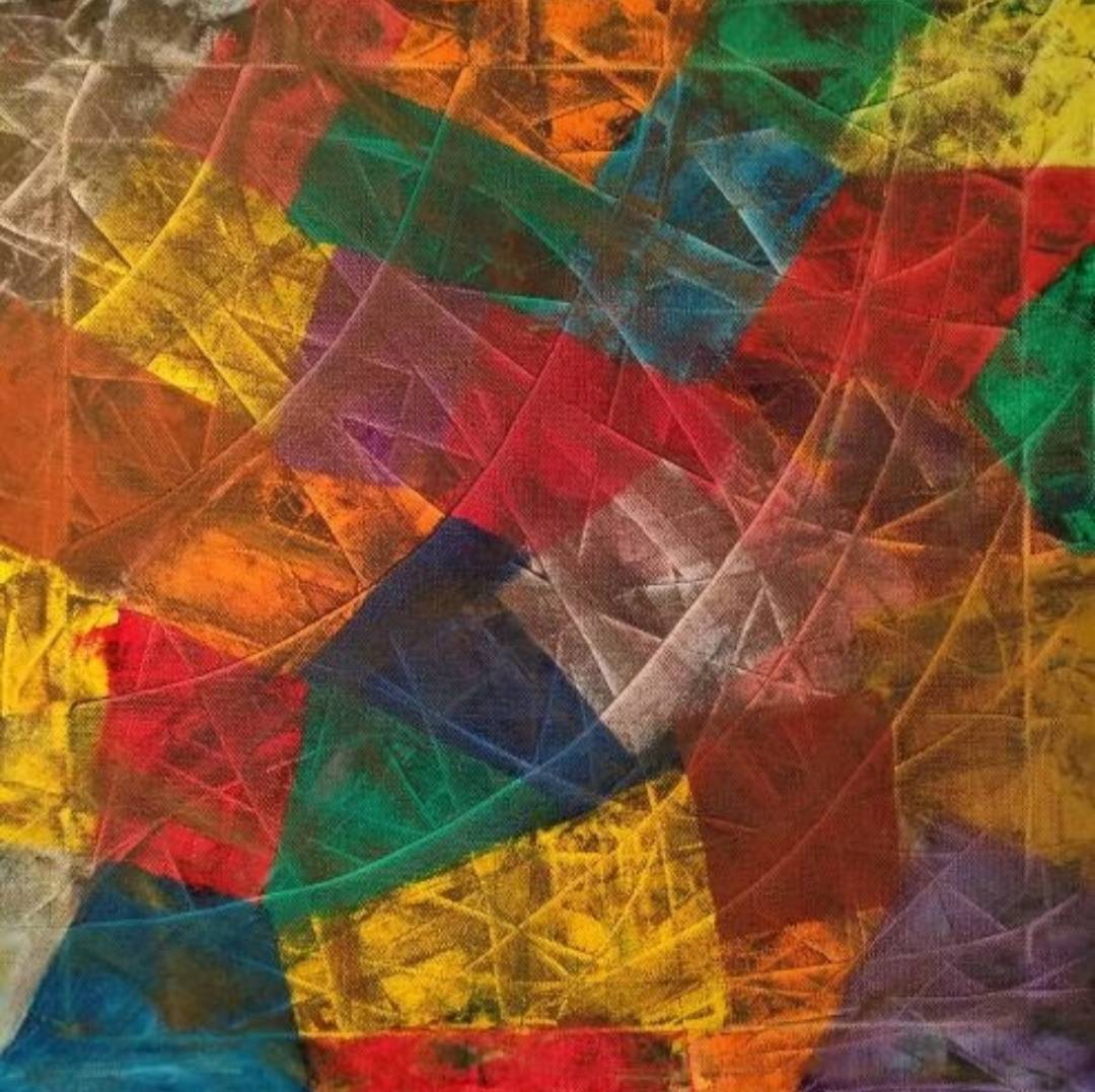 Abstract Oil Painting called Patchwork on sale for €200