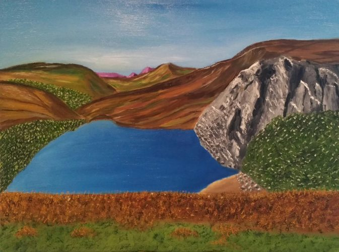 Oil Painting of a lake in County Wicklow in Ireland
