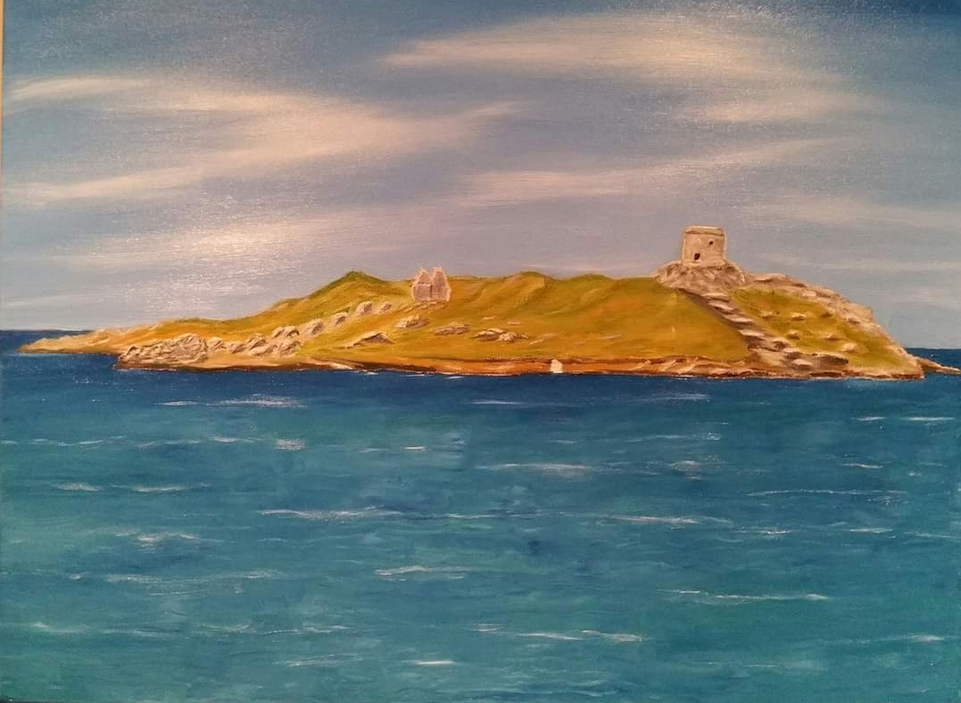 Oil Painting Dalkey Island and church