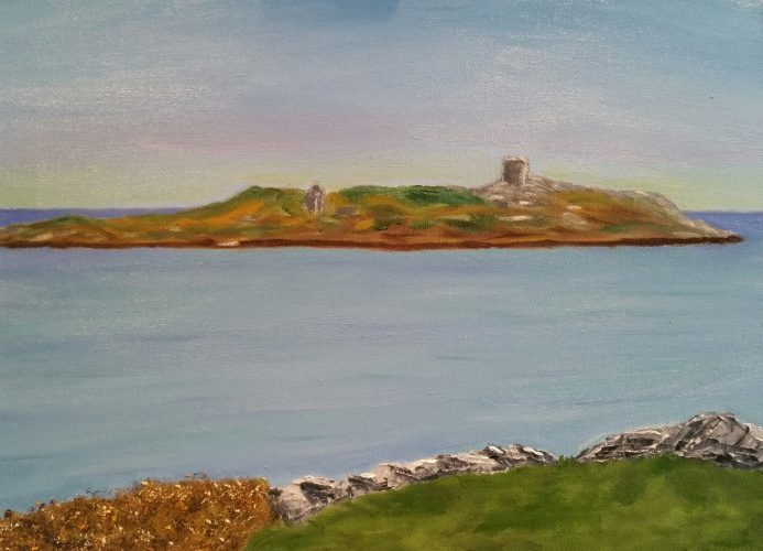 Oil Painting Dalkey Island from Coilmore. The painting is 30x40cm €160+ PP