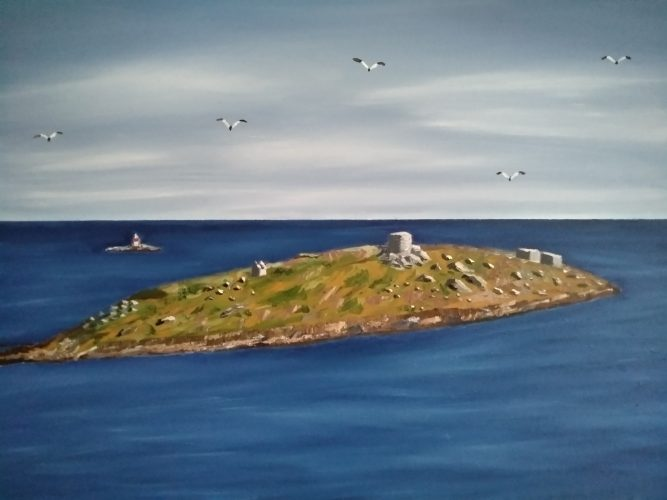 Oil Painting of Dalkey and Lamb Islands. The painting is 45 x 61cm. €250+ PP.