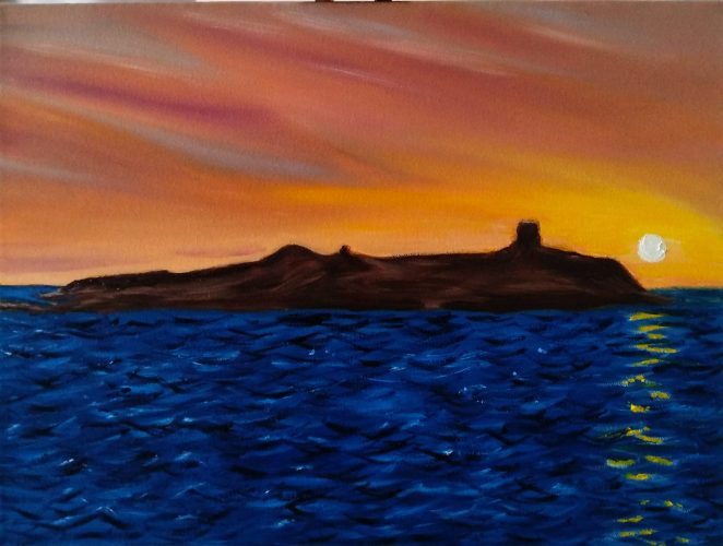 Oil Painting Dalkey Island Sunrise Winter by local artist