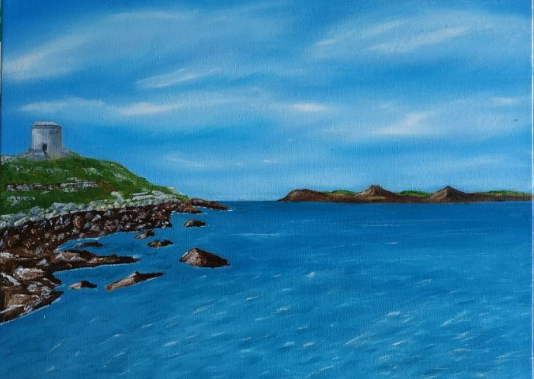Oil Painting Dalkey Island main land by local artist