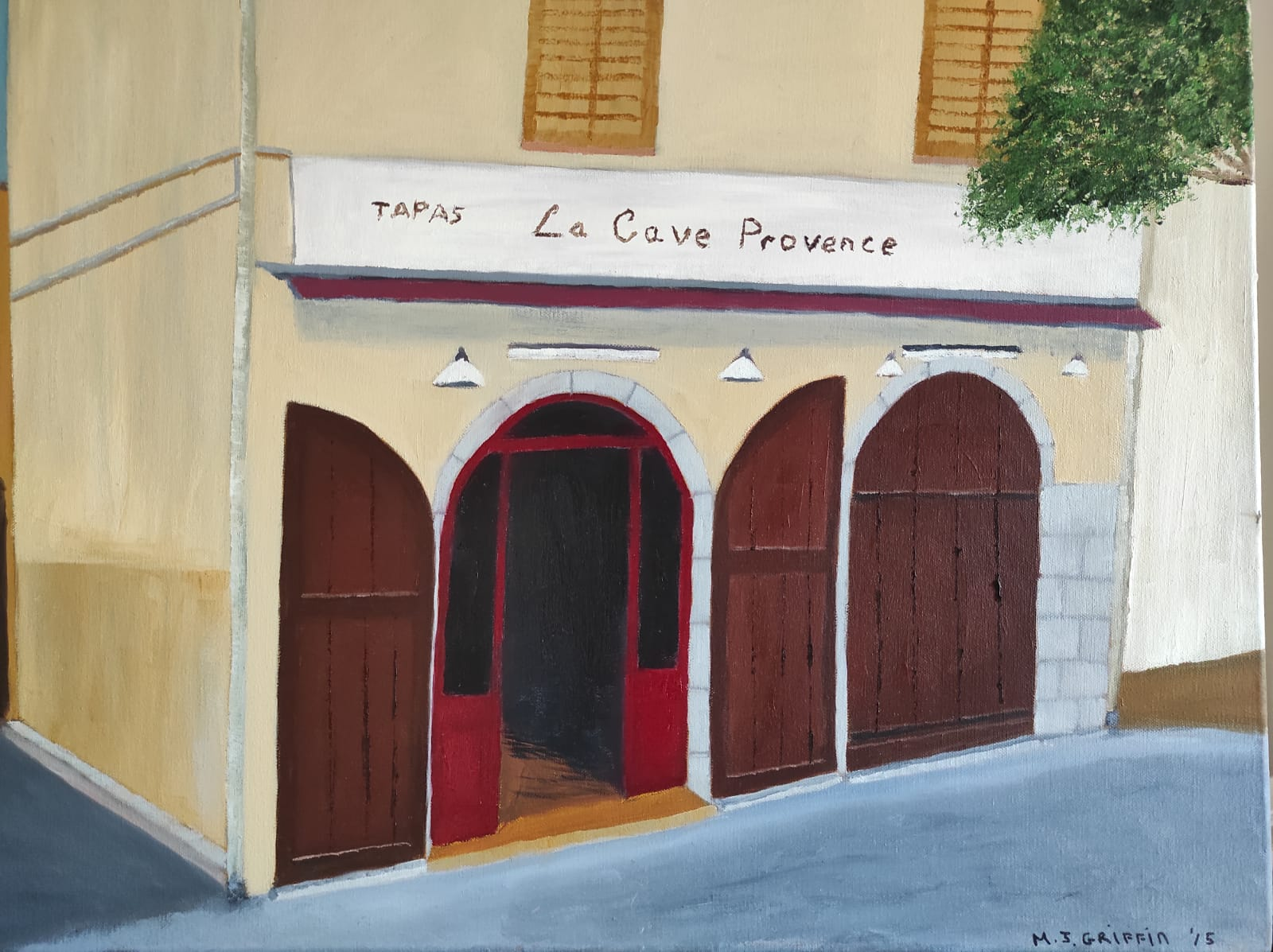 Oil Painting of French Cafe for sale by Irish artists