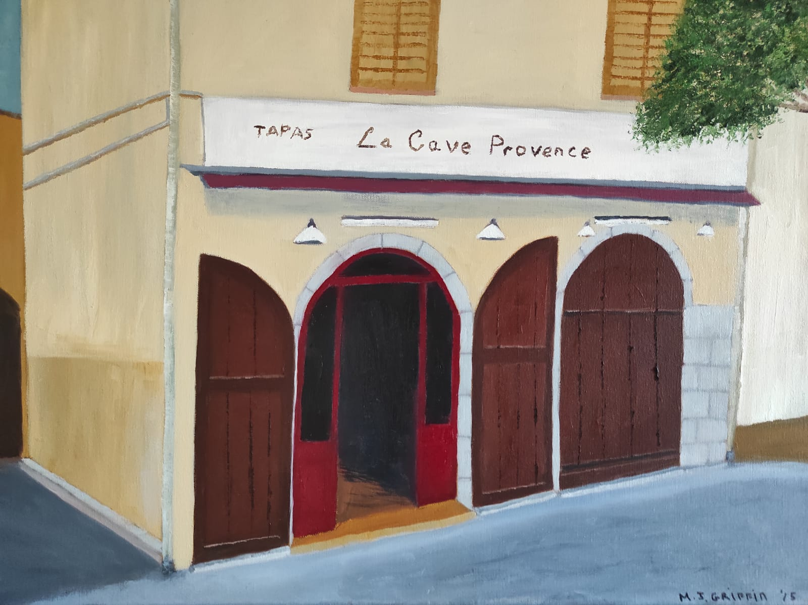 Oil Painting of a French Cafe for sale by Irish Artist