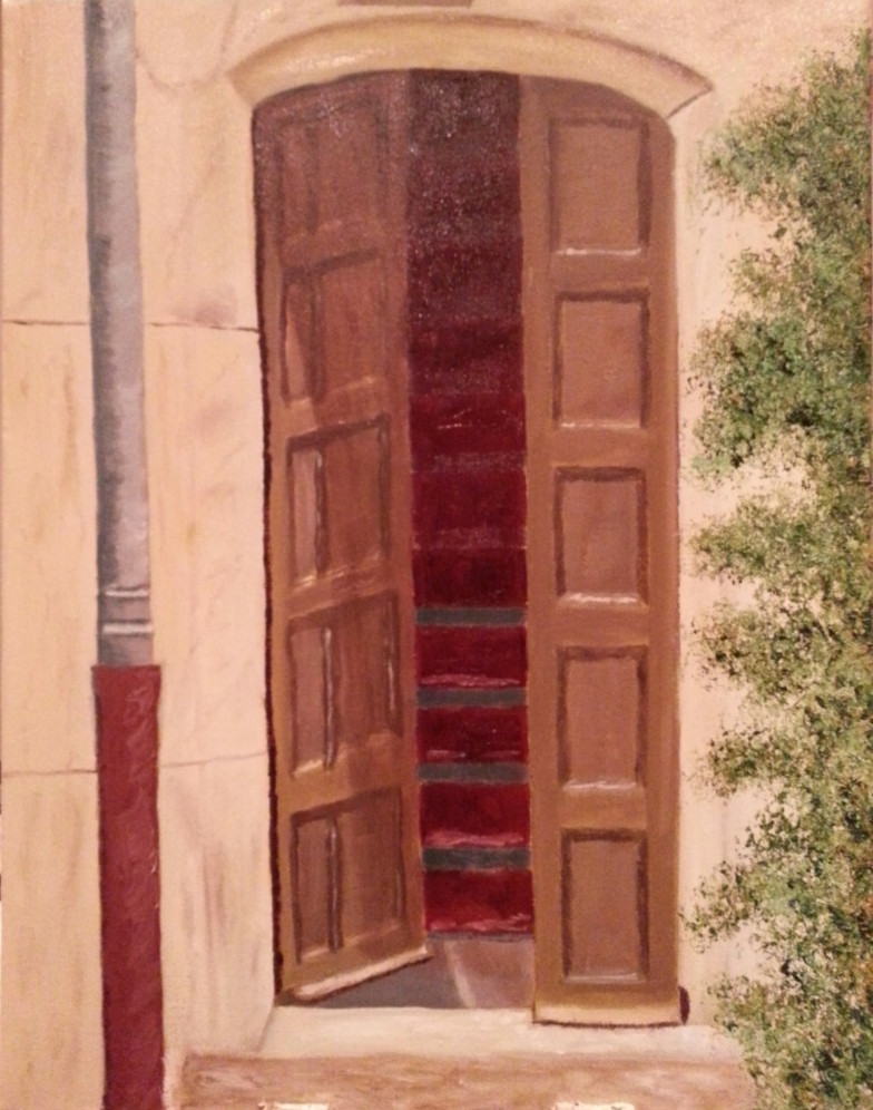 Oil painting of French doorway in Europe for sale by Irish artist
