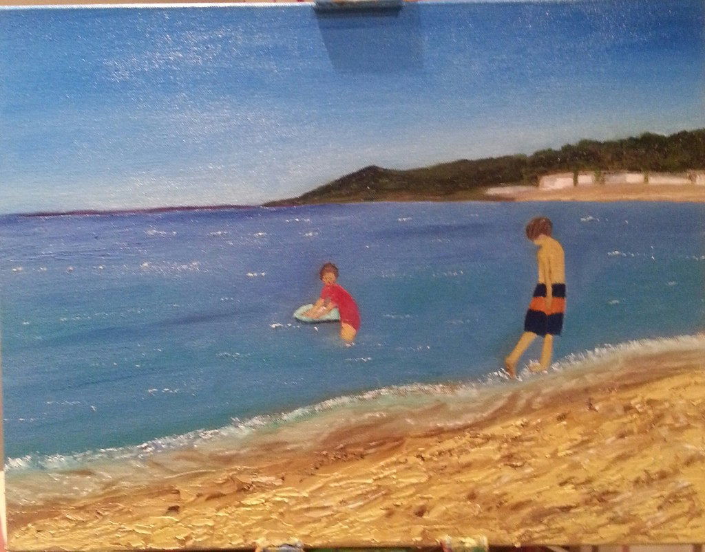 Oil painting of kids on a beach in Europe for sale by Irish artist