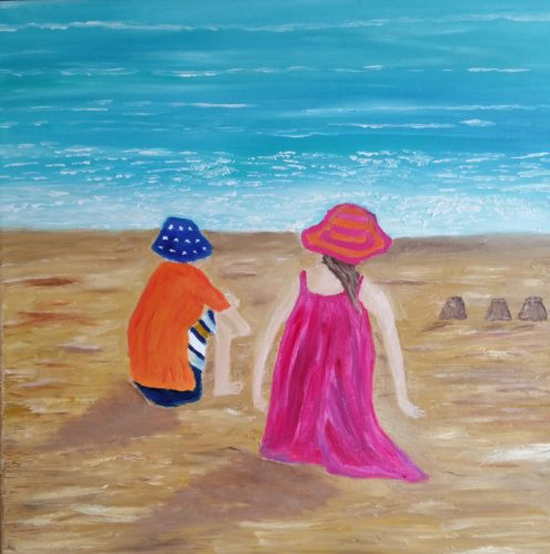 Oil Painting called on the beach in Europe for sale by Irish artist