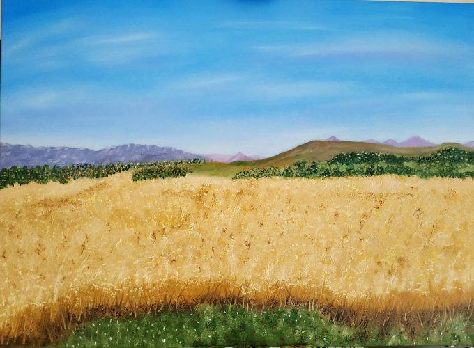 Oil painting for sale Sardinian Landscape by Irish artist