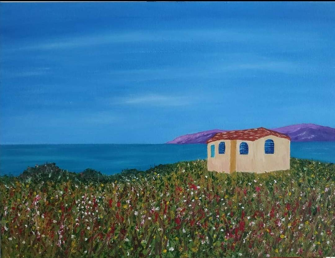 Oil painting of Sardinian villa in Europe for sale by Irish artist