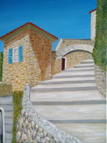 Oil painting of villa in Biot France in Europe for sale by Irish artist