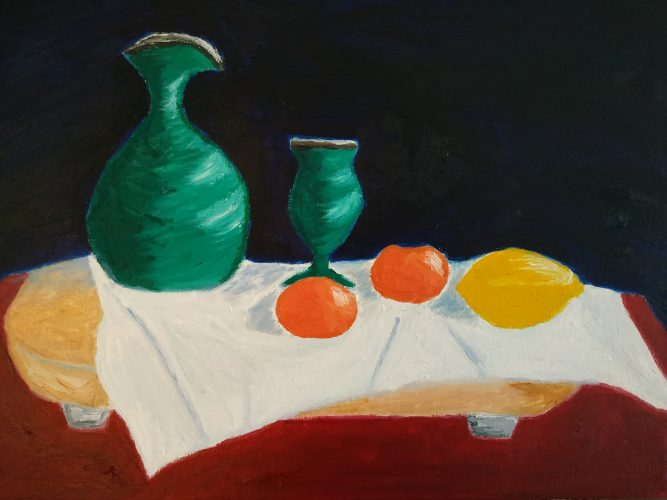 Still life oil painting of goblet and jug. The painting is 30 x 40 CM €160+ PP