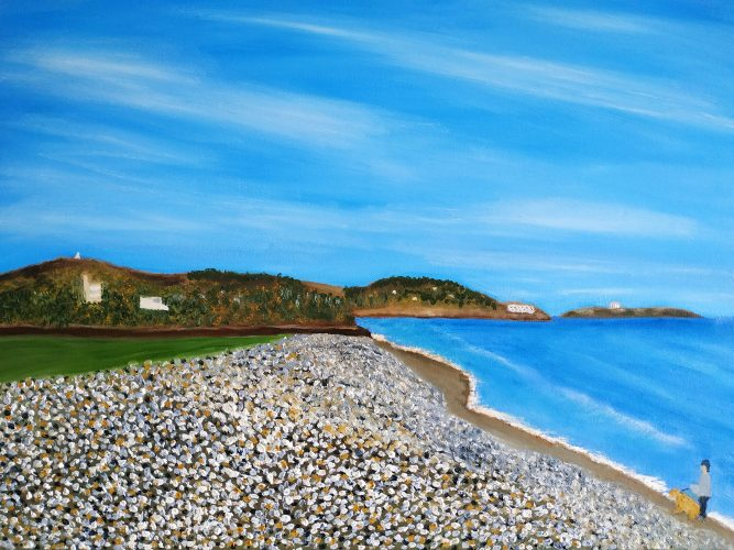 This oil painting of Killieny beach looking north to Dublin is 50X70 CM it is on sale for €250 + PP