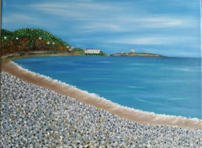 Oil Painting of Killiney Bach looking towards Dalkey Island and Jack Nicholson's house by local artisit