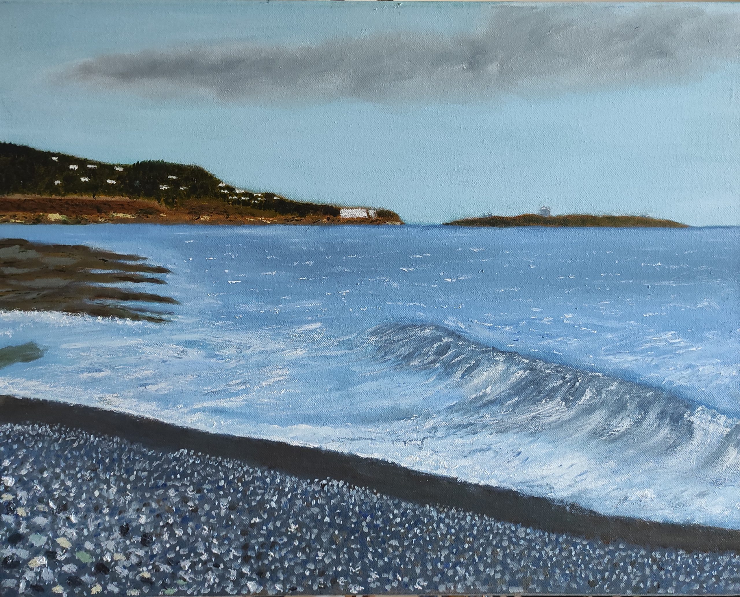 Oil Painting of Kiliney beach on a rough day, the painting is 40X50 CM on a deep canvas, and is for sale for  €220 + PP