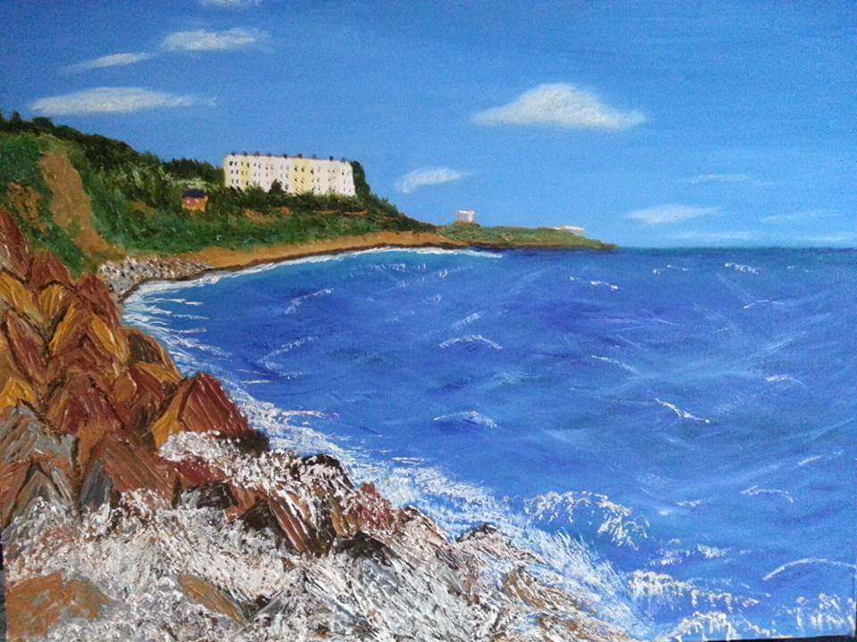 Oil Painting Killiney Beach North to Dalkey Island