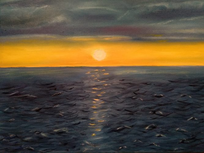 Oil painting of an orange sunrise over the Irish sea