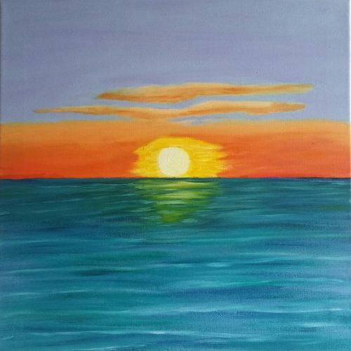 This oil painting of a summer sunrise over the Irish sea it is 40 X 40 cm on sale for €200 + PP