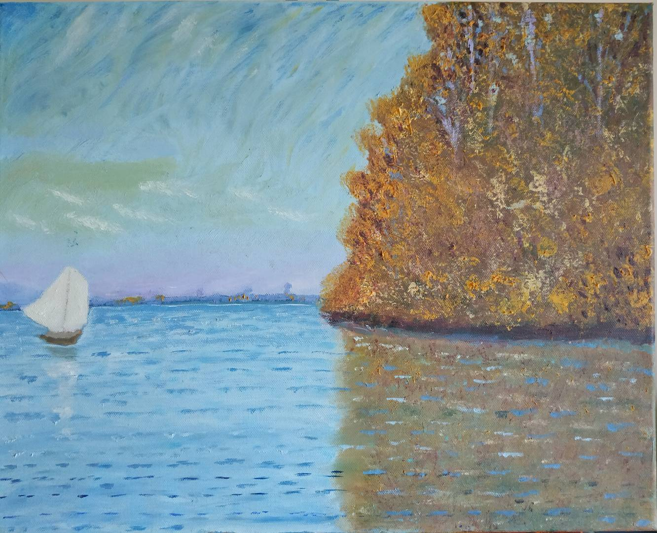 Post Monet Oil Painting of a single boat for sale by Irish Artist
