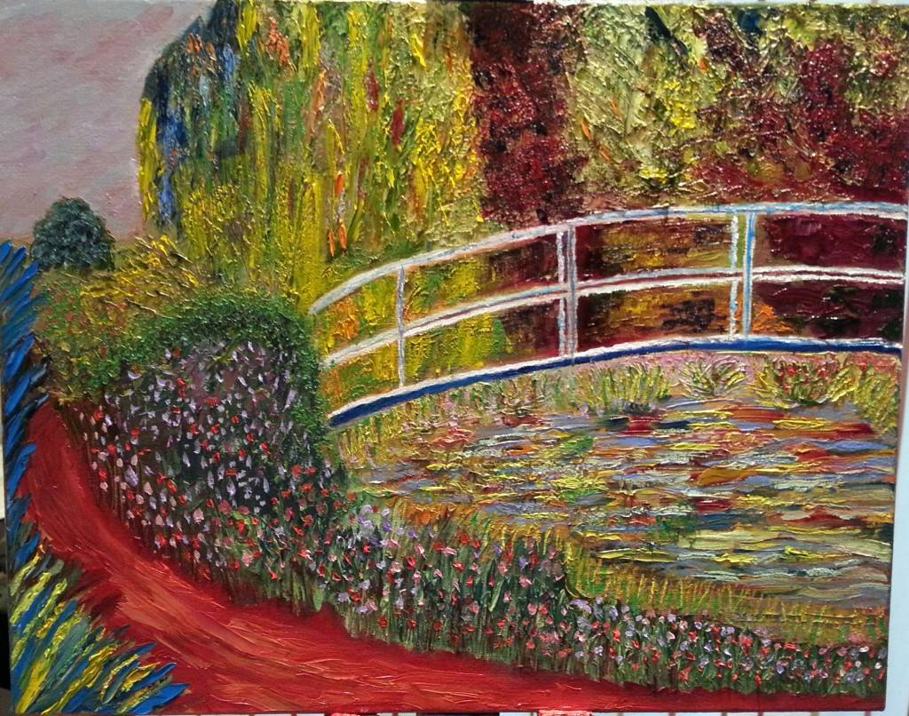 Post Monet Oil Painting of Bridge over lilly pond for sale by Irish Artist