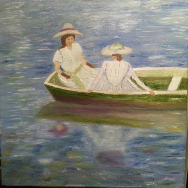Post Monet Oil Painting of ladies in a boat for sale for Irish artist