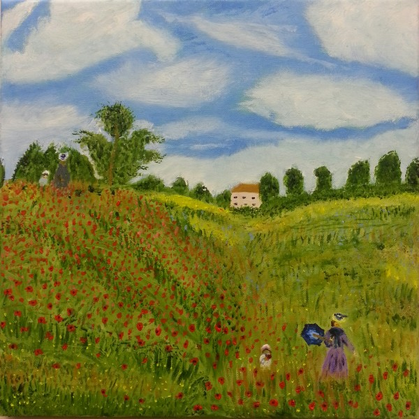 Post Monet Oil Painting called Poppy Fields for sale by Irish artist