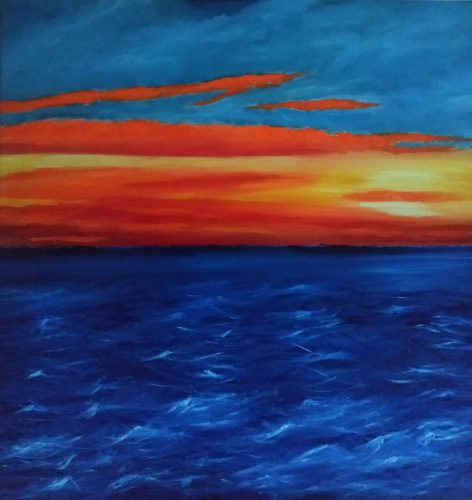 Oil painting of red sky sunrise over the Irish sea