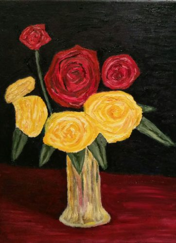 Still life oil painting of roses in a vase