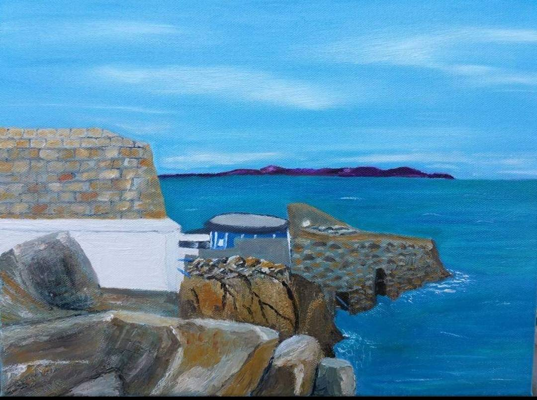 Oil Painting of Sandycove and the Forty Foot by local artist