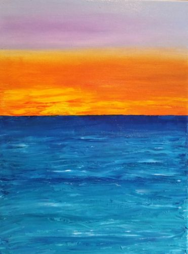Oil painting of sunrise over the Irish sea