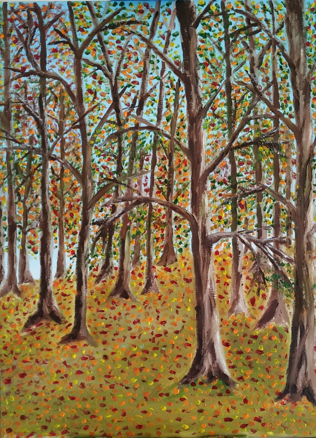 Oil Painting of trees in winter in Wicklow