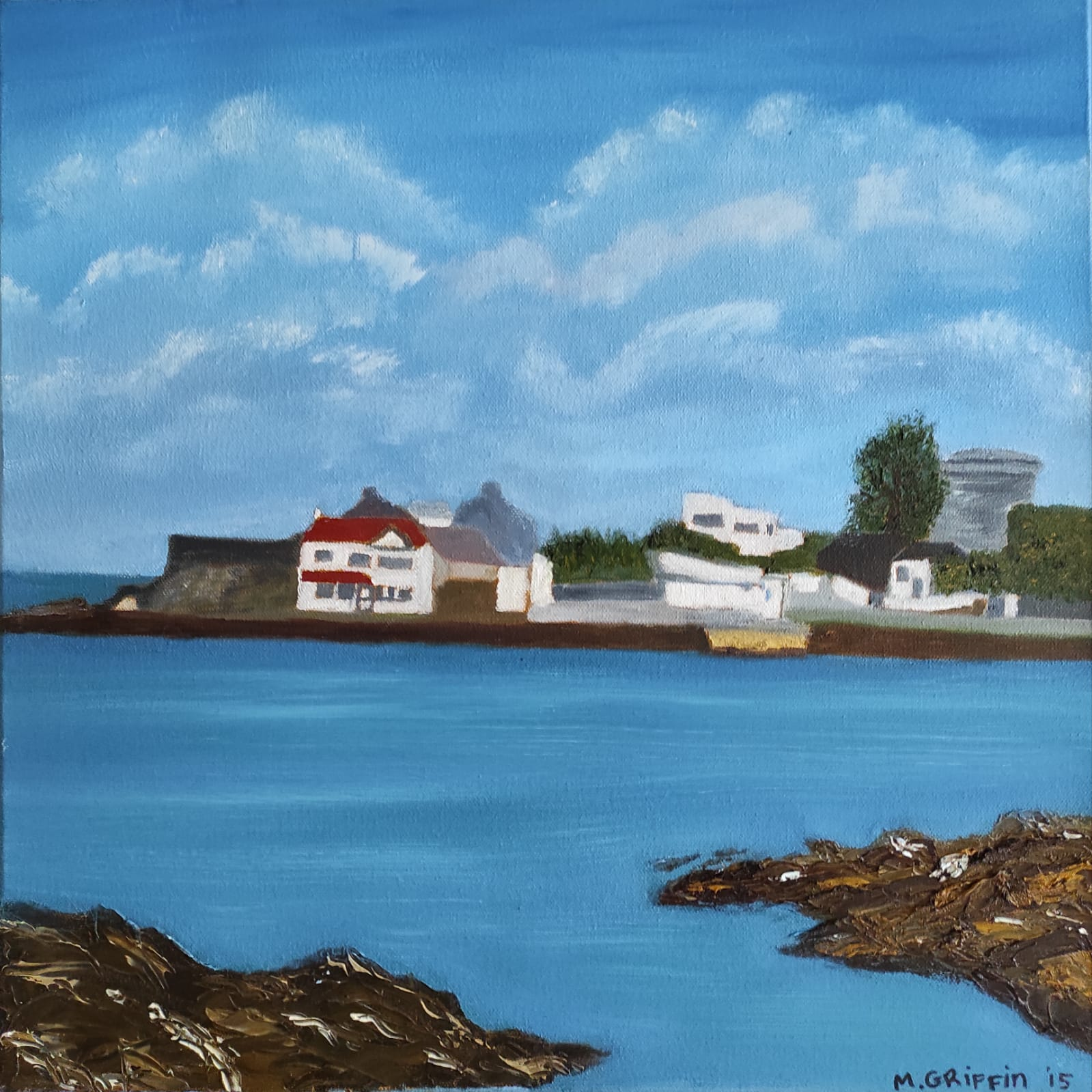 Oil Painting of avant garde house by Michael Scott in Sandycove