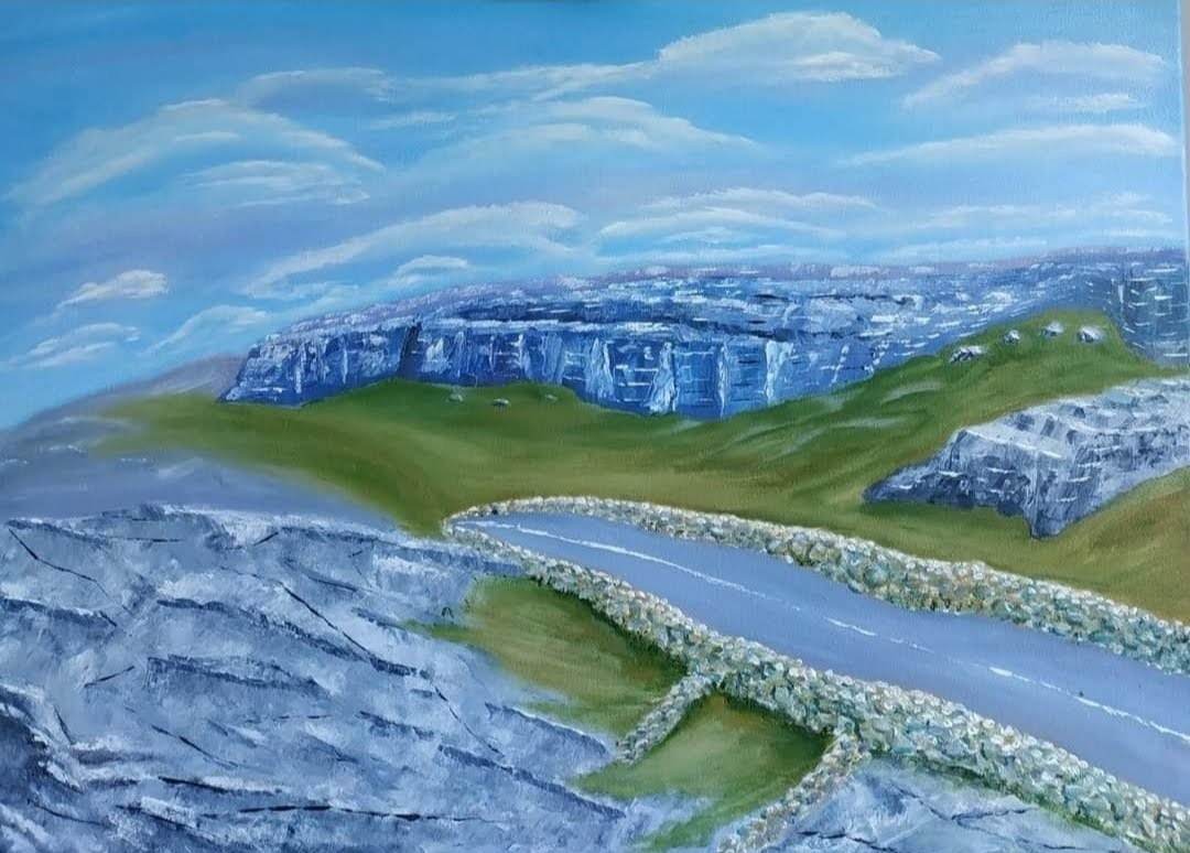 Oil Painting of Ireland showing the Burren in the west of Claire