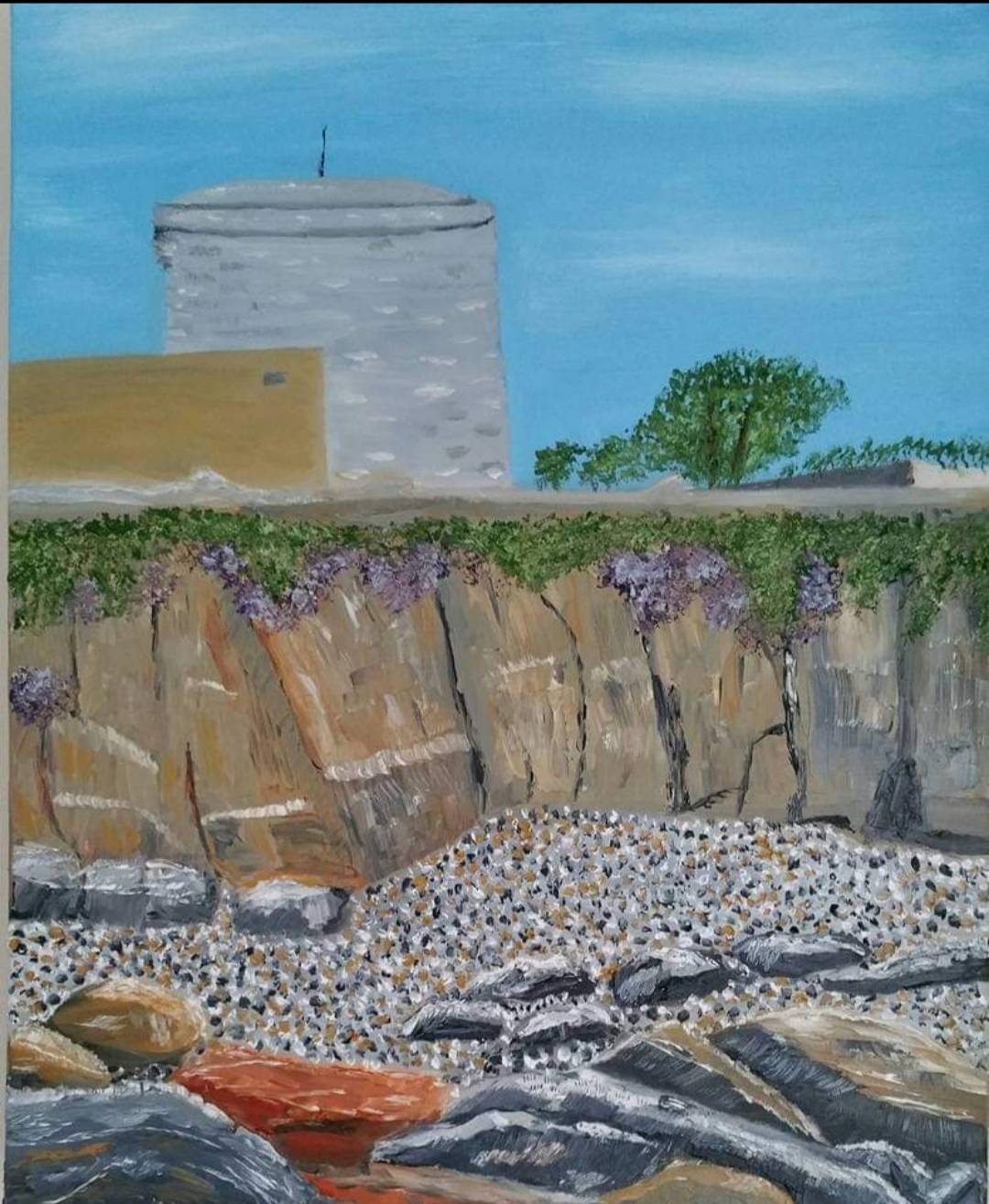 Oil Painting of the James Joyve Martello Tower in Sandycove