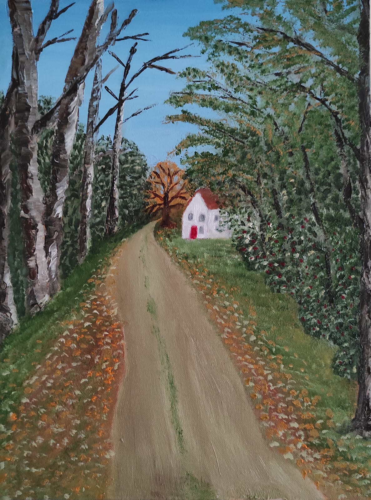 Oil Painting of an Irish Country Lane. The painting is 30X40 cm and is for sale at €160