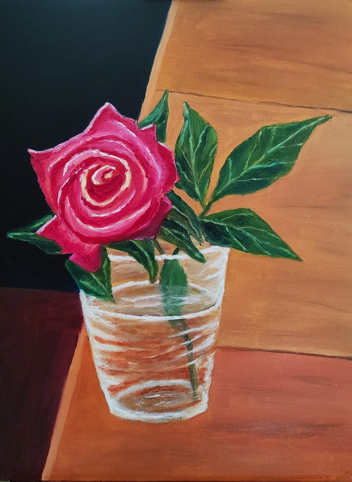 Irish Oil Painting of a pink rose in a glass. The painting is 30X40 cm and is for sale at €160
