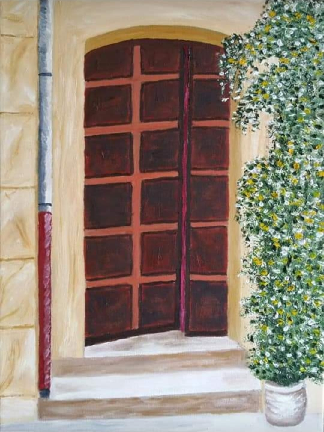 An oil painting of a French doorway by Irish Artist