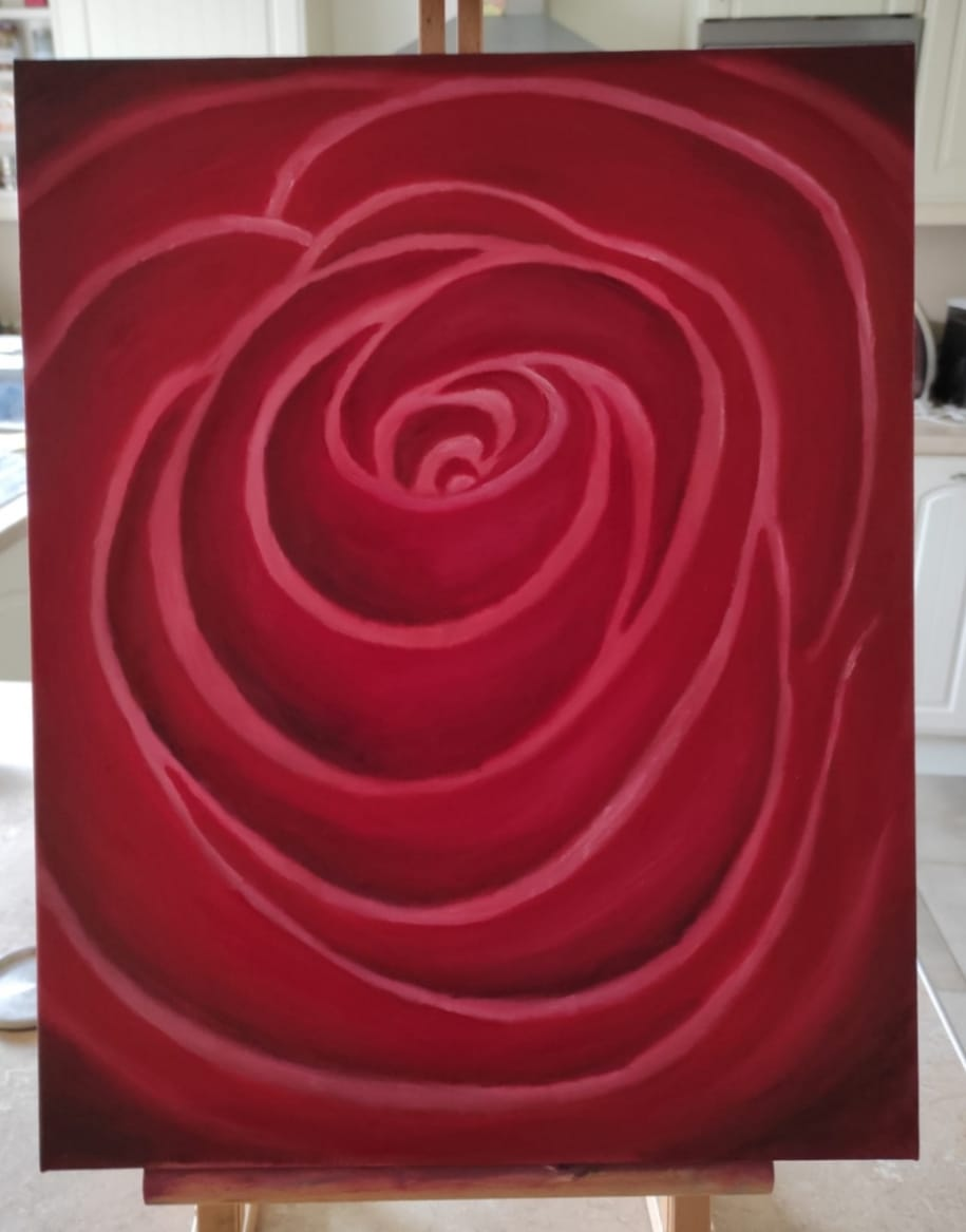 An Oil Painting called Deep Rose by Irish Artist